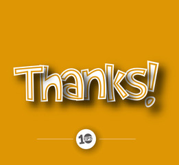 Thanks text made of 3d vector design element.