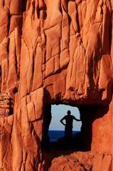 Italy, Sardinia, Arbatax, Red rock formation