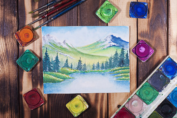 View of water color painting