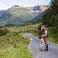 UK, Scotland, Highlands Region, Couple kissing
