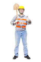 Worker holding   shovel  with thumb up isolated on white