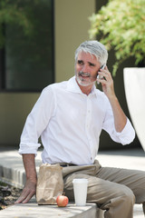 Businessman talking on phone at lunch