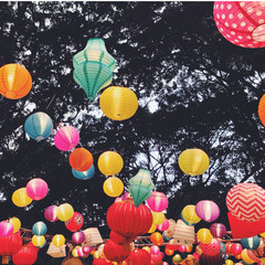 Australia, Sydney City, Hyde Park, Chinese Paper lanterns in the Night Noodle Market