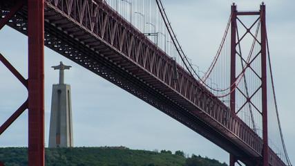 Portugal, Lisbon, Christ King and the 25th of April bridge