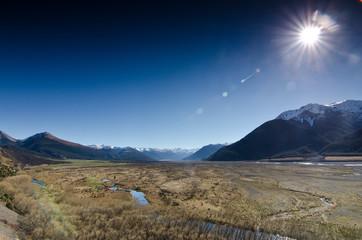 New Zealand, Canterbury, Arthur's Pass, Plains under sunlight