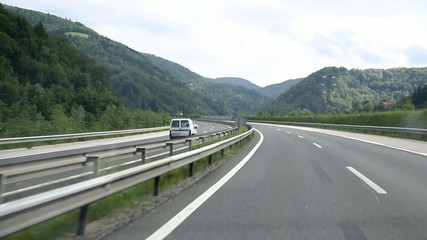 Car is driving on the wrong side of the highway