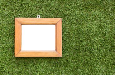 Wooden frame on artificial grass