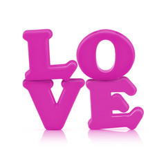 Pink love sign alphabet isolated on white with clipping path