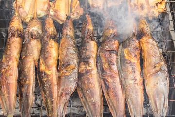 Grilled catfish on stove - thai food
