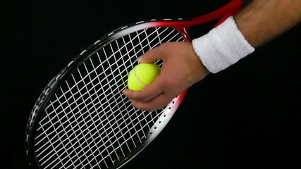 tennis player preparing to hit the ball with his racket