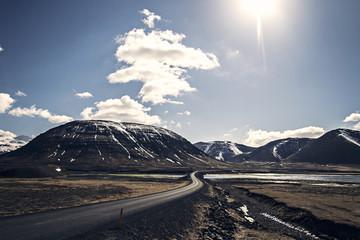 Iceland, Sunlit Road