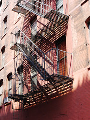 USA, New York State, New York City, Fire escape