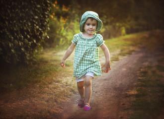 Poland, Girl walking on path