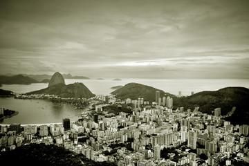 Brazil, Rio de Janeiro state, Rio de Janeiro, Elevated view of city and sea