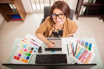 Happy designer loving her job