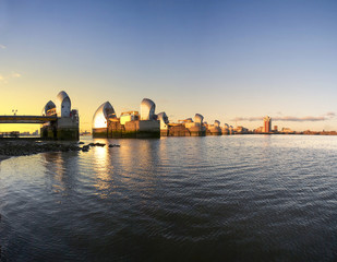 United Kingdom, England, London, Thames Barrier towers at sunset