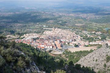 Spain, Catalonia, Tarragona, Tivissa, Elevated view of town from mountain