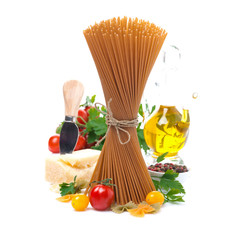 wholegrain spaghetti, cherry tomatoes, olive oil and parmesan