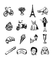 France black flat icons set
