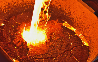 molten metal poured from ladle
