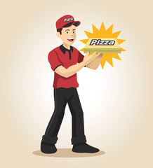 Delivery man. Vector flat illustration