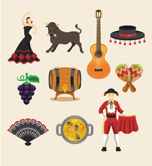 Spain vector flat icon set