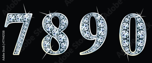 Diamond numbers set  7,8,9,0. Vector Eps10 - 77442138