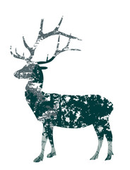 deer silhouette from green trees branches on white