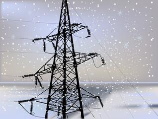black electric power pylon under flowfall