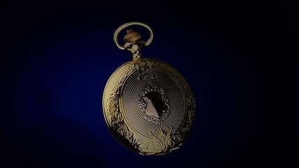 pocket watch on a blue background