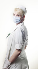 Doctor in a gauze bandage with stethoscope
