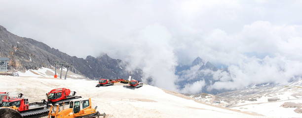 Snowmobile at Zugspitze mountain