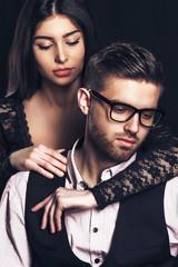 fashion man and woman love couple portrait