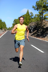 Runner man running sprinting for success on run