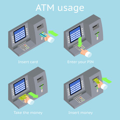 ATM terminal usage. Payment with credit card, take and insert
