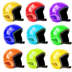 set of helmets luge on a white background