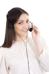 Young woman, call center operator with headset on white backgrou