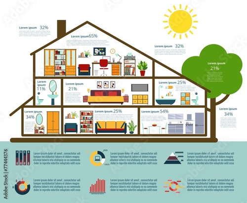 House infographics in flat style - 77444376