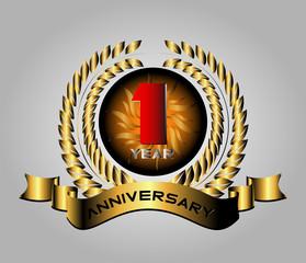 Celebrating 1 Years Anniversary Retro Label
