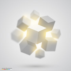 Many cubes. Vector