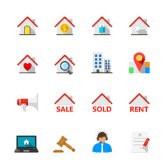Real Estate Icons : Flat Icon Set for Web and Mobile Application