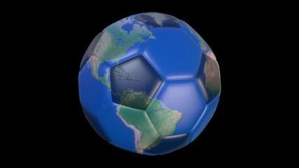 Earth and Football.Seamless loop