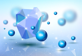 Abstract 3d blue  business design illustration