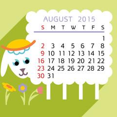 calendar AUGUST  2015 sheep