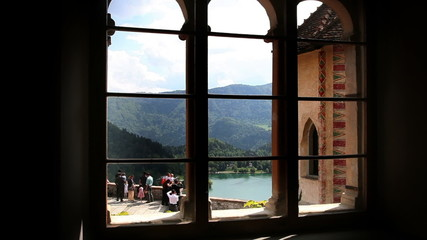 Shot of the part of the lake Bled from the window inside of Bled`s castle