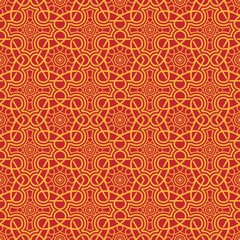 Orange Colors Round grid Pattern. Korean traditional Pattern Des