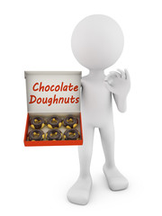 man with chocolate donuts
