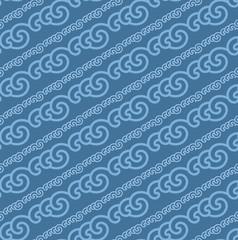 Blue Colors Wave Pattern. Korean traditional Pattern Design Seri