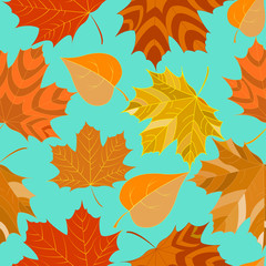 seamless background with autumn leaves decorative