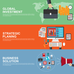 Flat design for strategic planning, investment business solution